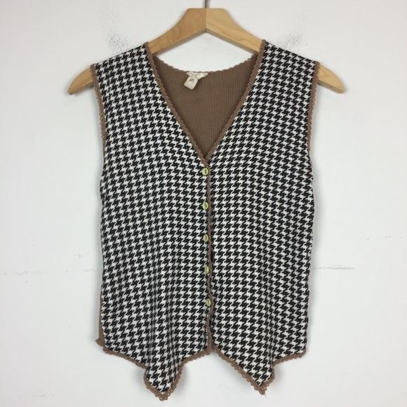 Vintage 70s mini houndstooth knit sweater vest